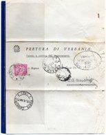 ##(DAN185)-1967- Piego  Tassa A Carico Assolta Con  L.20 Segnatasse Da Pallanza Per  Cannobbio - 1946-.. République