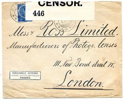 Nederlansch Indie - Lettre/cover - Censor - WWI 1915 - Padang To London - 2 Scans - (A124) - Indie Olandesi