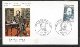 FDC Lettre Illustrée   Premier Jour Paris 04/02/1967  N°1511 Emile Zola TB Soldé à Moins De 20 % ! ! ! - 1960-1969