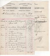 Facture. R. Longfils - Merelle. Imprimerie-Papeterie Fournitures De Bureau & Mandat à Erquelinnes.  De 1908 à 1909 - Printing & Stationeries