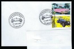 """Enveloppe  Avec CAD Thème Voiture """"25 ème Rassemblement International Des Amateurs De Mathis"""" 22/08/2003 Seillac - Voitures"""