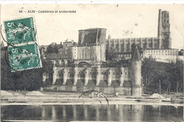 ALBI . CATHEDRALE ET ARCHEVECHE . AFFR LE 21-2-1911 SUR RECTO - Albi