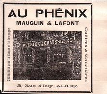 Au Phénix - Mauguin & Laffont - 2, Rue D'Isly Alger Chaussures, Guêtres Et Molletières - Pubblicitari