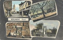 """Cpsm Format Cpa. MULTIVUES """" REALMONT """" 1 TRACE DE PLI . ECRITE AU VERSO LE 2-1-1964 - Realmont"""