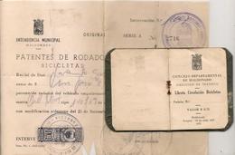 URUGUAY - 1956 BIKE REGISTRATION - LIBRETA DE BICICLETA - BICYCLE DRIVER CARD + PATENT MUNICIPAL PAYMENT - FISCAL STAMPS - Documentos Históricos