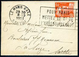 Lettre 9x6,5cm Flamme Flier à Texte Le Mans - Marianne De Gandon 12F - Marcophilie (Lettres)