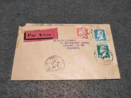FRANCE CIRCULATED COVER W/ 3 PASTEUR STAMPS PARIS TO LONDON PAR AVION 1923 - France