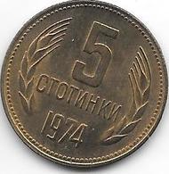 *bulgaria 5 Stotinski 1974 Km 86   Unc - Bulgarie