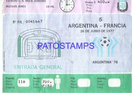 93613 ARGENTINA - FRANCIA BUENOS AIRES SOCCER FUTBOL WORLD CUP ENTRADA NO POSTAL POSTCARD - Other