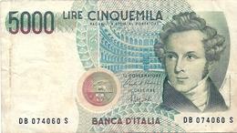 5.000  LIRE - VINCENZO  BELLINI  - Anno 1996   -  D.M. 4  Genn.1985  -  Firme:  CIAMPI / SPEZIALI. - [ 2] 1946-… : Républic