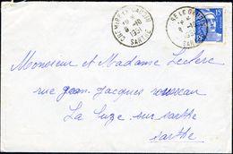 Enveloppe 15x10cm - Cachet De Chemiré-le-Gaudin (Sarthe) - 1951 - Marcophilie (Lettres)