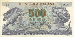 BANCONOTA  Da  500  Lire - Serie  MEDUSA  -  Legge 31.3.1966  N. 171 E D:M: 23.2.1970  N: 22516. - [ 2] 1946-… : Républic
