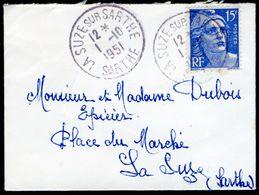 Mini-enveloppe 9x6,5cm - Cachet De La Suze-sur-Sarthe - 1951 - Marcophilie (Lettres)