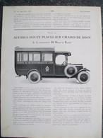 PUBBLICITA'/PUBLICITE'  AUTOBUS DE DION,VOLANT PARE SOLEIL Da Rivista AUTO CARRROSSERIE 1927 - Cars