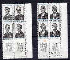 !!! PRIX FIXE : WALLIS ET FUTUNA, BLOCS DE 4 N°180/181 COINS DATES NEUFS ** THEME DE GAULLE, UNE PETITE TACHE SUR LE BDF - Unused Stamps