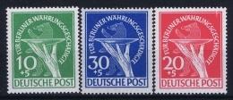 Germany Berlin 1949 Mi Nr 68 - 70 MNH/**  20 Pf Has A Small Spot, Hinge - Unused Stamps