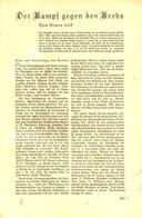 Der Kampf Gegen Den Krebs / Artikel, Entnommen Aus Zeitschrift /1935 - Bücher, Zeitschriften, Comics