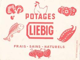 """Buvard """" Liebig """" ( Pliures, Déchirures, Rousseurs, 20 X 14.5 Cm ) - Potages & Sauces"""