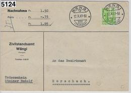 1949 Nachnahme 208y/304y Wängi Thurgau To Rorschach 12.X.49 - Schweiz