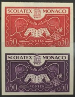 MONACO N° 617 SCOLATEX Non Dentelé Essai Imperf Color Proof Superbe **, Paire Bdf ! RARE ! - Monaco