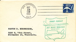 USA First Flight Jet Mail Service Air Mail Route 1 San Francisco - New York 18-9-1959 - Enveloppes évenementielles
