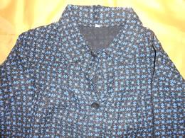 Blouse Ancienne à Motif Bleu Sur Fond Noir - - Habits & Linge D'époque