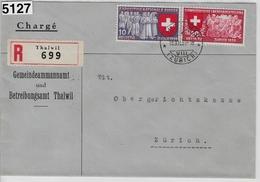 1939 Landi 220/222 225/338 Recommande Thalwil To Zürich 13.XII.39  Betreibungsamt - Brieven En Documenten