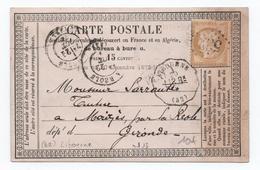1874 - CARTE PRECURSEUR Avec CONVOYEUR STATION De LIBOURNE (GIRONDE) - Railway Post