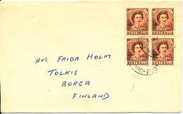 Australia Cover Sent To Finland 1962 With A Block Of 4 2d Queen Elisabeth - 1952-65 Elizabeth II: Dezimalausgaben (Vorläufer)