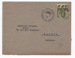 """1934 - ENVELOPPE Avec CACHET AMBULANT """"PARIS A CHERBOURG 2°"""" Sur TYPE PAIX - Correo Ferroviario"""