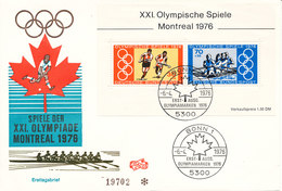Germany FDC 18-6-1976 Minisheet Olympic Games Montreal With Cachet - Summer 1976: Montreal