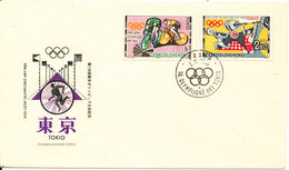 Czechoslovakia FDC 2-9-1964 OLYMPIC GAMES STAMPS TOKYO Wiith Cachet - FDC