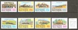 St Christophe, Nevis, Anguilla, Année 1980, Surchargés Official (série Incomplète) - St.Kitts-et-Nevis ( 1983-...)