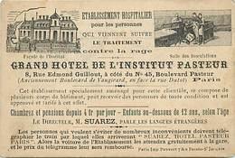 Themes Div -ref X33- Pasteur -traitement Contre La Rage -grand Hotel De L Institut Pasteur Paris - Dim : 12cms X 8cms - - Santé