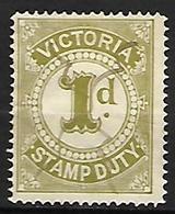 VICTORIA    -   FISCAUX-POSTAUX   -   1880  .  Y&T N° 1 Oblitéré - 1850-1912 Victoria