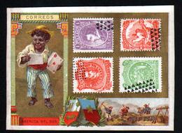 Chromo , Avec Representation De Timbres De L'Argentine, Perou, Bolivie, Illustrateur: Paris - Trade Cards
