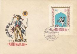 NATIONAL PHILATELIC EXHIBITION, MESSENGER, SPECIAL COVER, 1966, ROMANIA - 1948-.... Republics