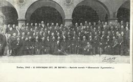 """679 """"TORINO 1902- II CONCORSO INT. DI MUSICA-SOC. CORALE HARMONIE LYONNAISE """" CART.ANIMATA ORIG. NON SPED. - Manifestazioni"""