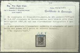 ITALIA REGNO ITALY KINGDOM 1867 EFFIGIE RE VITTORIO EMANUELE CENT. 20c MNH TORINO OTTIMA CENTRATURA CERTIFICATO - Nuovi