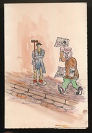 KORTRIJK 1950  - HUMORISTISCHE MENU  - AQUARELLE -  _ 2 SCANS - Menus