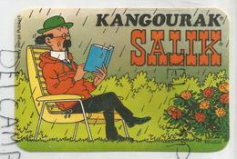 Autocollant. Kangourak Salik. Tournesol Lit Un Livre Sous La Pluie. Signé Hergé. - Stickers