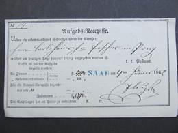 Aufgabs Recepisse Saar Zdar Stemepel Blau!! 1862 /// D*31780 - 1850-1918 Imperium