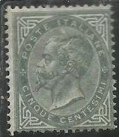 ITALIA REGNO ITALY KINGDOM 1863 1865 VITTORIO EMANUELE CENT. 5c MLH LONDRA DISCRETA CENTRATURA CERTIFICATO - Nuovi
