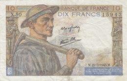 Billet 10 F Mineur Du 25-3-1943 FAY 8.8 Alph. X.50 Sans épinglage - 1871-1952 Antichi Franchi Circolanti Nel XX Secolo