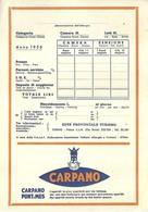 """685 """" PUBBLICITA' CARPANO-PUNT E MES- PREZIARIO (NON COMPILATO) ALBERGHIERO DELL'ENTE PROV. TURISMO-TORINO """" DOC. ORIG. - Old Paper"""