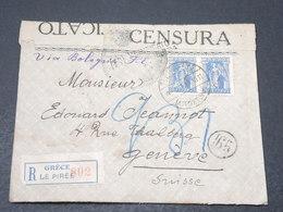 GRECE - Enveloppe En Recommandé De Le Pirèe Pour Genève En 1918 Avec Contrôle Postal- L 17106 - Grecia