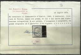 ITALIA REGNO ITALY KINGDOM 1863 1865 EFFIGIE VITTORIO EMANUELE II CENT. 5c MNH TORINO CERTIFICATO - Nuovi