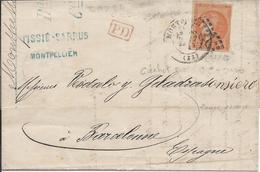 Lot N°42553  Variété/n°48/lettre, Oblit GC Et Cachet à Date De Montpellier, Hérault (33) Pour Barcelonne ESPAGNE - 1870 Emission De Bordeaux