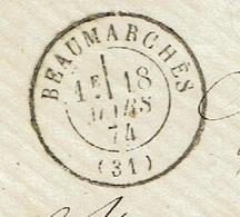 GERS 31 BEAUMARCHES TAD 17 Du 18/03/1874 GC 4416 Sur N° 60 Bureau Rare SUP - Marcophilie (Lettres)