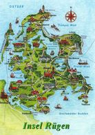 1 MAP Of Germany * 1 Ansichtskarte Mit Der Landkarte Der Insel Rügen * - Carte Geografiche